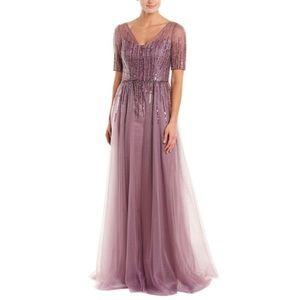 Teri Jon Short Sleeve Sequin Tulle Gown - 2
